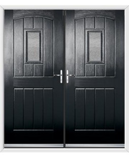English Cottage French Rockdoor in Onyx Black with Gluechip Glazing