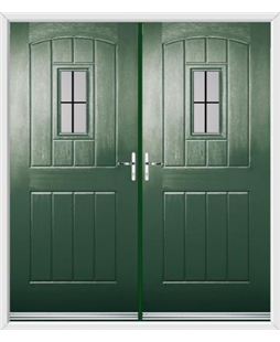 English Cottage French Rockdoor in Emerald Green with Square Lead