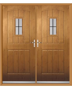 English Cottage French Rockdoor in Irish Oak with Square Lead