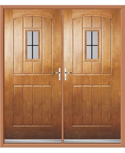 English Cottage French Rockdoor in Light Oak with Square Lead