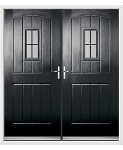 English Cottage French Rockdoor in Onyx Black with Square Lead