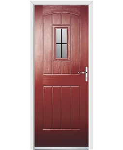 Ultimate English Cottage Rockdoor in Ruby Red with Square Lead