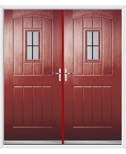 English Cottage French Rockdoor in Ruby Red with Square Lead