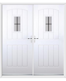 English Cottage French Rockdoor in White with Square Lead