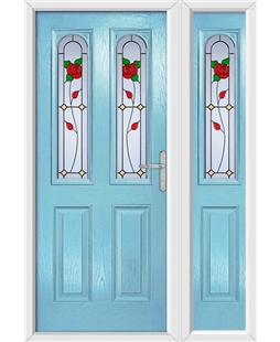 The Aberdeen Composite Door in Blue (Duck Egg) with English Rose and matching Side Panel