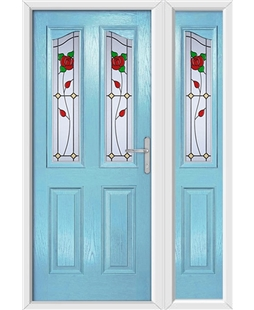 The Birmingham Composite Door in Blue (Duck Egg) with English Rose and matching Side Panel