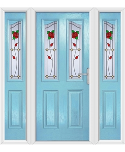 The Birmingham Composite Door in Blue (Duck Egg) with English Rose and matching Side Panels