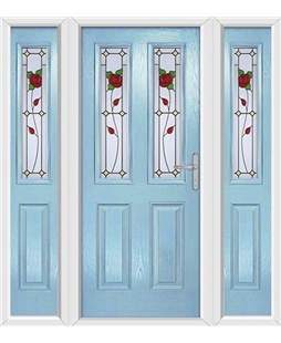 The Cardiff Composite Door in Blue (Duck Egg) with English Rose and matching Side Panels