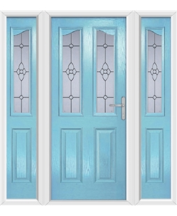 The Birmingham Composite Door in Blue (Duck Egg) with Finesse Glazing and matching Side Panels