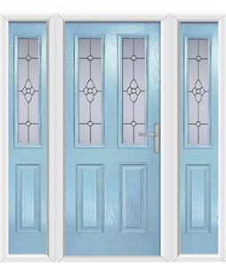 The Cardiff Composite Door in Blue (Duck Egg) with Finesse Glazing and matching Side Panels