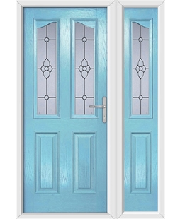 The Birmingham Composite Door in Blue (Duck Egg) with Finesse Glazing and matching Side Panel