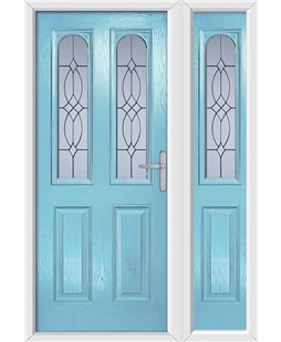 The Aberdeen Composite Door in Blue (Duck Egg) with Flair Glazing and matching Side Panel