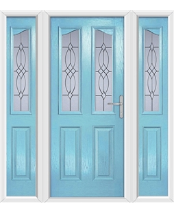 The Birmingham Composite Door in Blue (Duck Egg) with Flair Glazing and matching Side Panels
