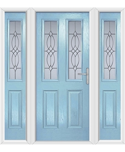 The Cardiff Composite Door in Blue (Duck Egg) with Flair Glazing and matching Side Panels