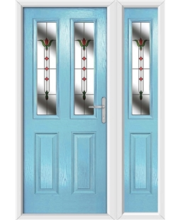The Cardiff Composite Door in Blue (Duck Egg) with Fleur and matching Side Panel