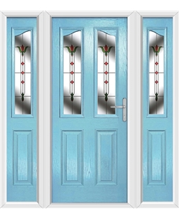 The Birmingham Composite Door in Blue (Duck Egg) with Fleur and matching Side Panels