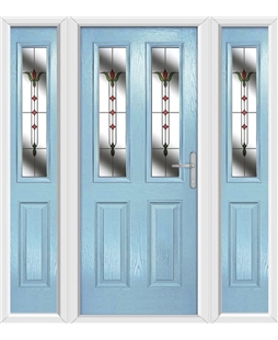 The Cardiff Composite Door in Blue (Duck Egg) with Fleur and matching Side Panels