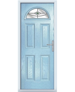 The Derby Composite Door in Blue (Duck Egg) with Green Fusion Ellipse