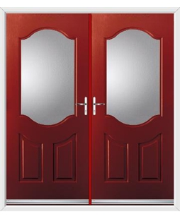 Georgia French Rockdoor in Ruby Red with Glazing