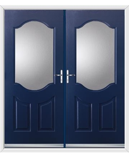 Georgia French Rockdoor in Sapphire Blue with Glazing