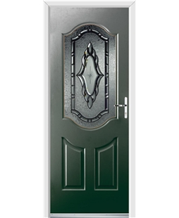 Ultimate Georgia Rockdoor in Emerald Green with Constellation Glazing