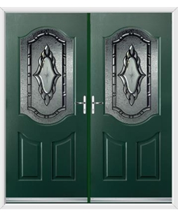 Georgia French Rockdoor in Emerald Green with Constellation Glazing