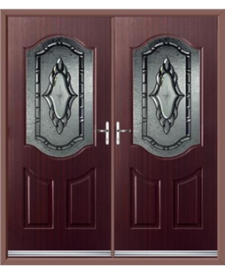 Georgia French Rockdoor in Mahogany with Constellation Glazing