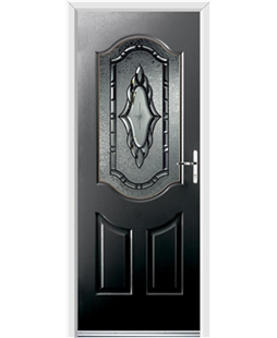 Ultimate Georgia Rockdoor in Onyx Black with Constellation Glazing