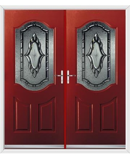Georgia French Rockdoor in Ruby Red with Constellation Glazing