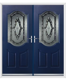 Georgia French Rockdoor in Sapphire Blue with Constellation Glazing
