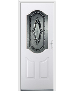 Ultimate Georgia Rockdoor in White with Constellation Glazing