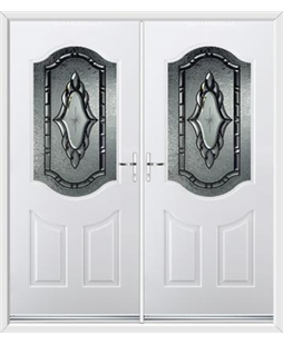 Georgia French Rockdoor in White with Constellation Glazing