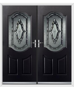 Georgia French Rockdoor in Onyx Black with Constellation Glazing