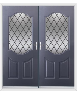 Georgia French Rockdoor in Anthracite Grey with Diamond Lead