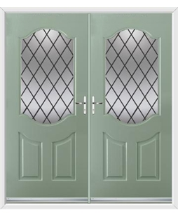 Georgia French Rockdoor in Chartwell Green with Diamond Lead