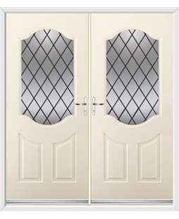 Georgia French Rockdoor in Cream with Diamond Lead