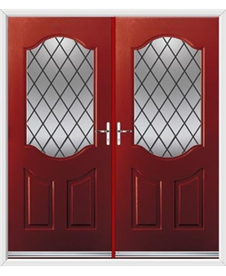 Georgia French Rockdoor in Ruby Red with Diamond Lead