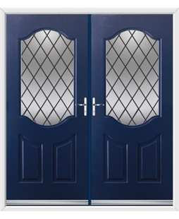 Georgia French Rockdoor in Sapphire Blue with Diamond Lead
