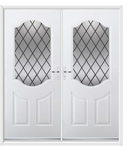 Georgia French Rockdoor in White with Diamond Lead
