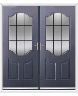 Georgia French Rockdoor in Anthracite Grey with Square Lead