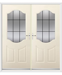 Georgia French Rockdoor in Cream with Square Lead