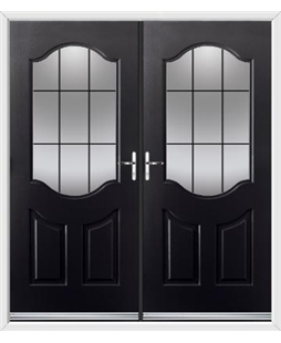 Georgia French Rockdoor in Onyx Black with Square Lead