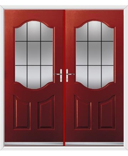 Georgia French Rockdoor in Ruby Red with Square Lead