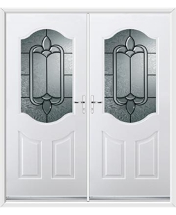 Georgia French Rockdoor in White with Square Lead