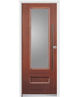 Ultimate Vogue Rockdoor in Mahogany with Glazing and Bar Handle