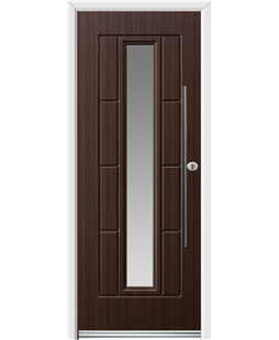 Ultimate Vermont Rockdoor in Mahogany with Glazing and Bar Handle
