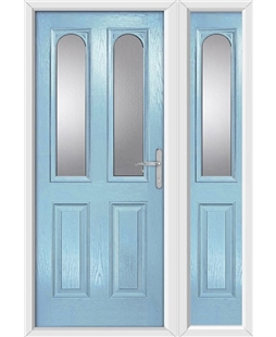 The Aberdeen Composite Door in Blue (Duck Egg) with Glazing and matching Side Panel