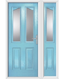The Birmingham Composite Door in Blue (Duck Egg) with Glazing and matching Side Panel