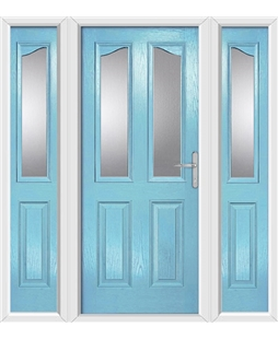 The Birmingham Composite Door in Blue (Duck Egg) with Glazing and matching Side Panels