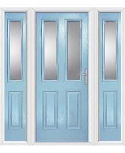 The Cardiff Composite Door in Blue (Duck Egg) with Glazing and matching Side Panels